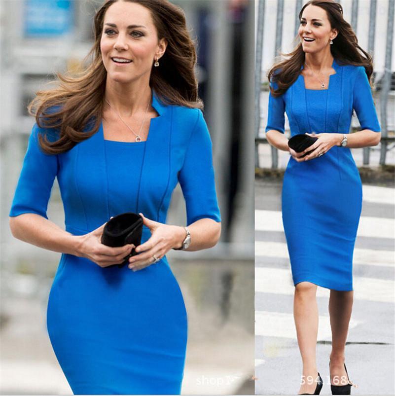 Women Fashion Dress Blue Red Beauty Dresses Half Sleeve