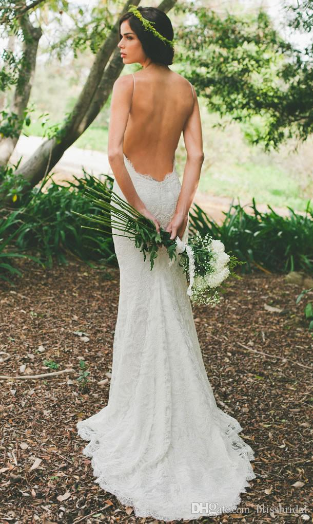 Katie Maj Ny 2016 Sexig Backless Wedding Dress Lace Spaghetti Sheath Garden Beach Sheer Summer Bridals Party Gowns Gratis frakt Billiga