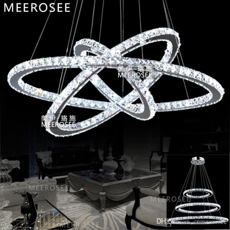 Led 3 Ring Chandelier: LED Crystal Ring Chandelier Pendant Light Modern LED