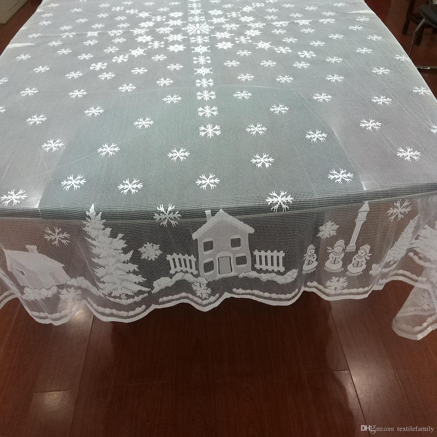 White Christmas lace Snowflake Tablecloths Round Xmas Tree lace snowflower  Table Cover Snowman diver snow deer Home Decor table cover