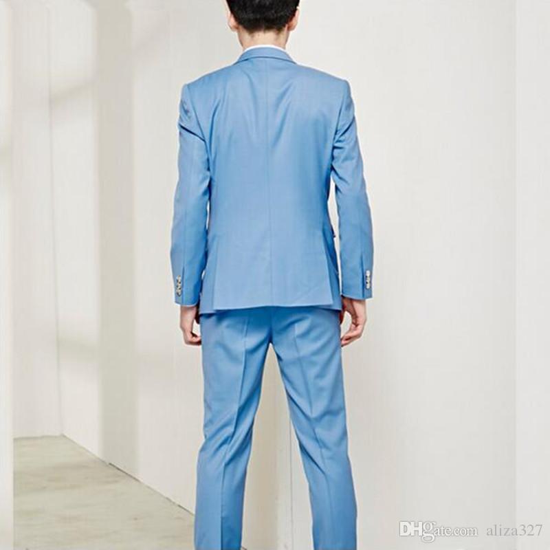 Мужские костюмы высокое качество slim fit костюмы Мужские свадебные смокинг сплошной цвет новый дизайн пром платье костюмы платье партии куртка + брюки