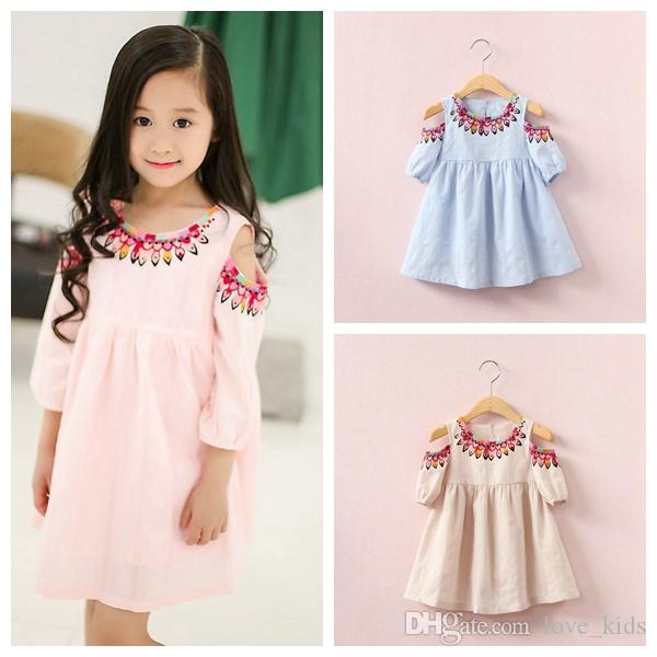 Baby girls cotton dress enthnic style girl princess skirts kids children skirt three-quarter sleeve dresses free shipping