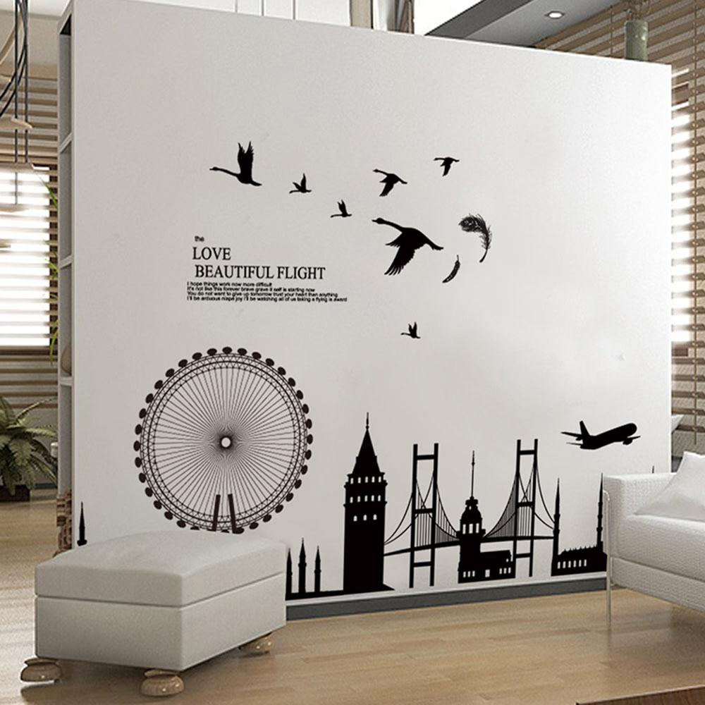 Removable Wall Sticker City Silhouette Buildings Art Decals Mural