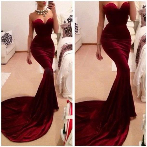 Burgundy Mermaid Trumpet Evening Dresses 2016 Vintage Sweetheart Chapel Train Formal Evening Prom Gowns Women's Pageant Party Dresses