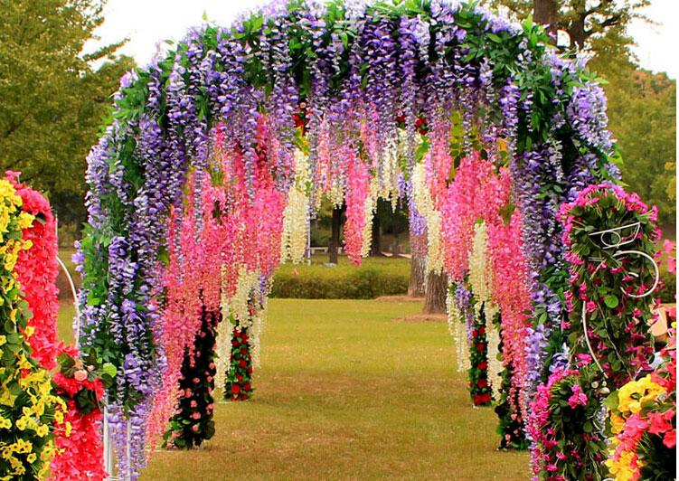 flowers simulation wisteria vine wedding decorations long silk plant bouquet room office garden bridal accessories 2016 hot sale table wedding decoration