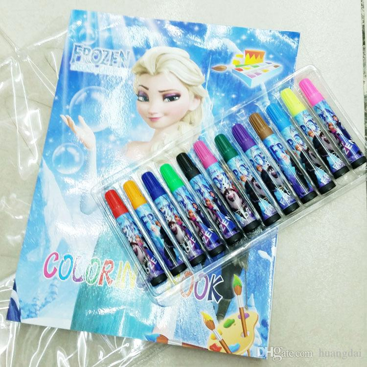 2014 New Frozen Stationery Set Elsa Anna Princess Cartoon Coloring Book Water Color Pen Fancy Drawing Kids Gifts Children Gift Free Colouring