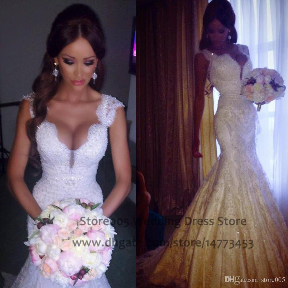 2016 Chinese Mermaid Wedding Dresses V Neck Cap Sleeve Pearls Lace ...
