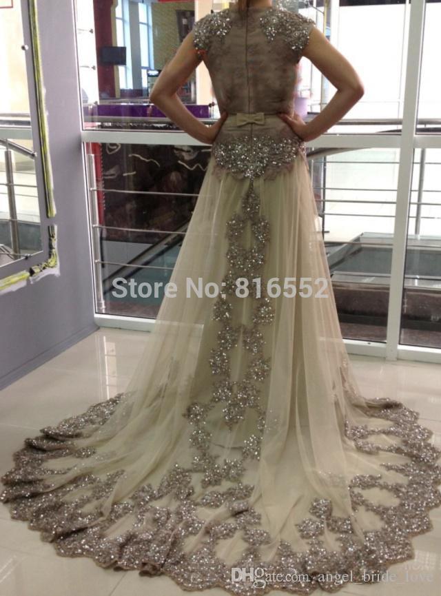 2015 nuevos vestidos de noche árabes largos más vendidos atractivos casquillo de la manga del cuello alto con cuentas una línea vestidos de baile de celebridades de tul