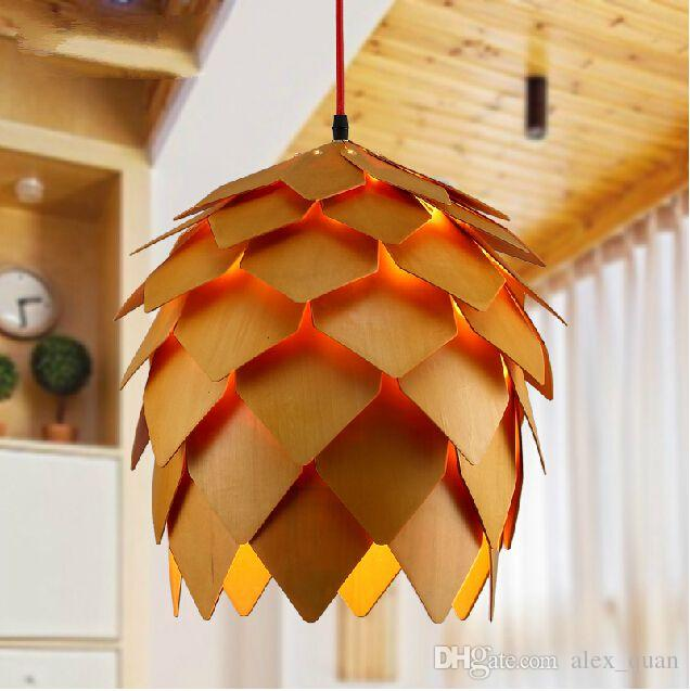 discount pine cone chandeliers modern creative wood pendant light wooden pendant lighting european style restaurant bar lamps 110v 220v 240v red pendant