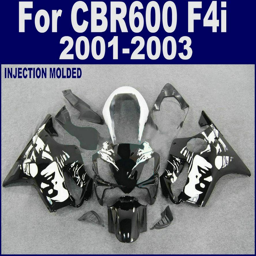 혼다 CBR 600 F4i 페어링을위한 사출 성형 2004 2005 2006 2007 검은 색 CBR600 F4i 페어링 키트 04 05 06 07 + 7 개 선물