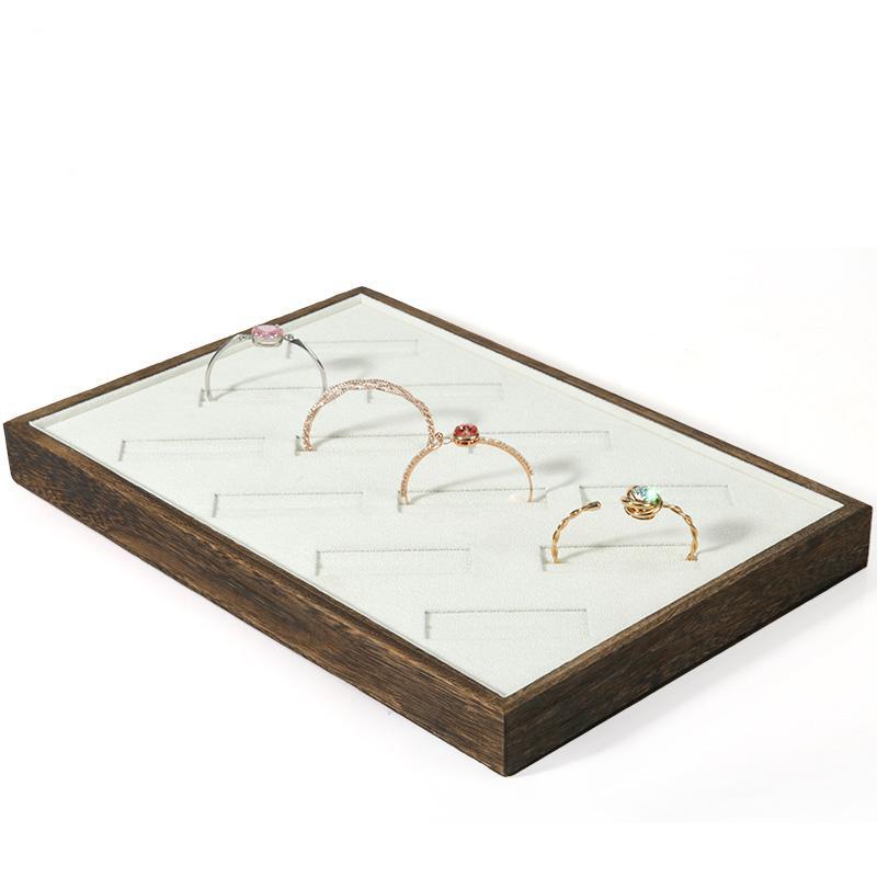 Plateau présentoir à bijoux En bois avec perle crémeuse Velours Bague Collier Bracelet Accessoire Plateau Boutique Boutique Bijoux Plateau Organisateur