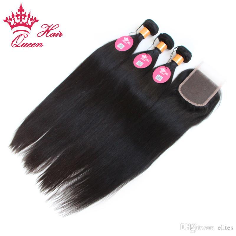 Cabello Queen Sin procesar Cabello virgen indio con cierre 4 piezas Lote de cabello con cierres de encaje Indio recto con cierre