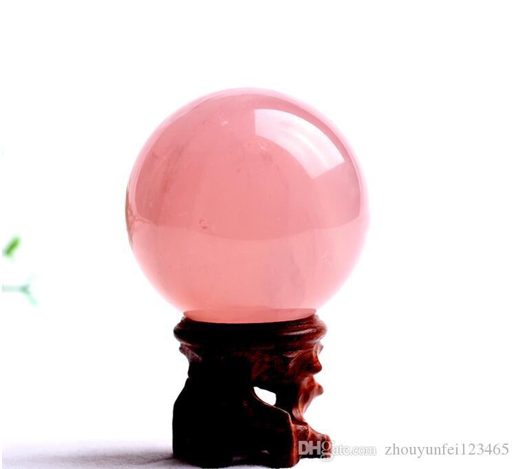 Natural Pink Rose Quartz Magic Crystal Ball Sphere 50MM Healing for Home Decorations