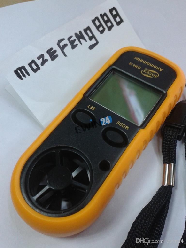 Anemómetro digital de mano Termómetro Aire Viento Velocidad Medidor de flujo para la navegación de surf Nuevo envío de alta calidad