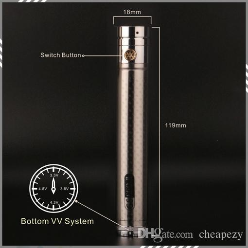 Newest Twist Battery GS EGO II Twist 2200mah Battery 510 Thread With Carbon Fibre Prining 3.3v - 4.8v Variable Voltage Battery