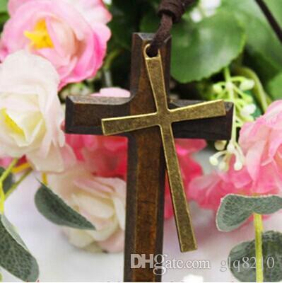 Doppelte Holzkreuz Anhänger Halskette Vintage Legierung Leder Schnur Pullover Kette Männer Frauen Schmuck Liebhaber Stilvolle 12 stücke