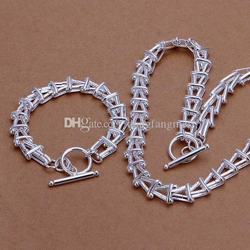 heavy 75g fashion design 925 silver necklace bracelet set fit unisex,High quality 925 silver plated jewelry set,DS-340