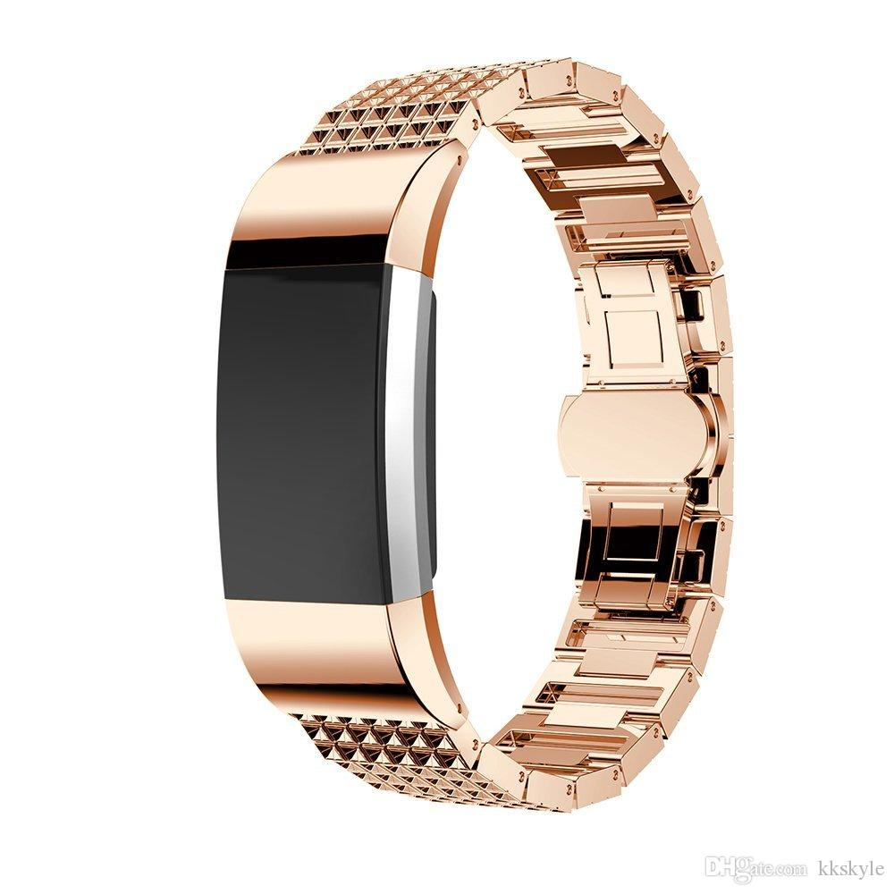 Fitbit Charge 2 Bands,Metal Stainless Replacement Metal Bands with Crystal Rhinestone Replacement Bands for Fitbit Charge 2 Chocolate