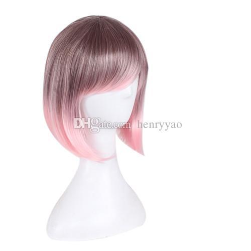 Women Cosplay Short Animation Bob Hair Ombre Black Pink Side Bang الملونة المرأة الباروكة الاصطناعية