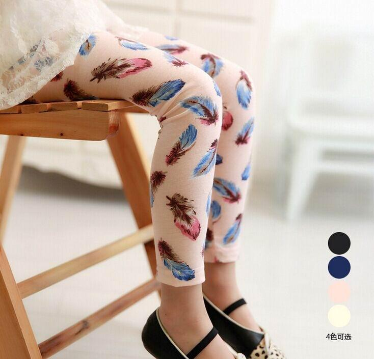 Wholesale Spring Autumn New Girl Legging Feather Cotton Thin Long Legging 3-7Y 1718