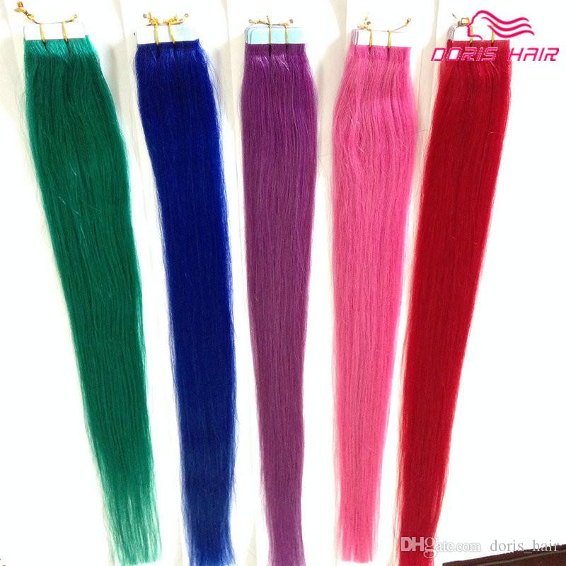 Hot selling silky straight tape hair extensions mix colors pink silky straight tape hair extensions mix colors pink red blue purple green tape in human hair tape on hair silky straight tape hair extensions red tape in pmusecretfo Choice Image