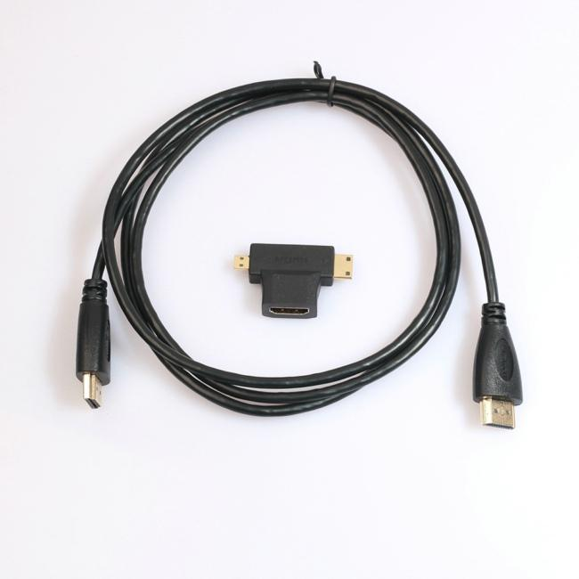 High Speed V1.4 HDMI Cable with 3 in 1 Mini HDMI Micro Adapter for Xbox 360 HDTV 1080P Mobile etc