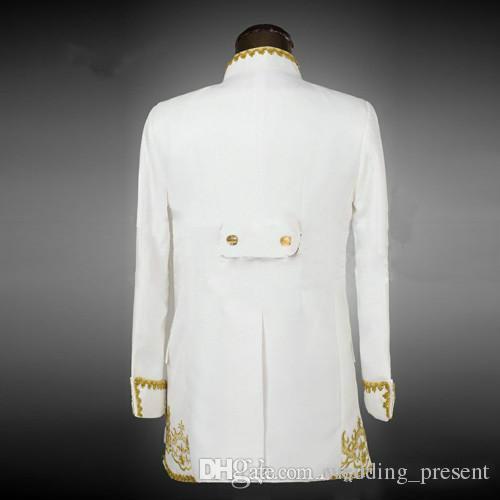 ملابس العريس الرشيقة البيضاء الفاخرة مع مطرز ذهبي ذو ثديين رسميين بدلات العريس الكلاسيكية سترة + سروال + سترة