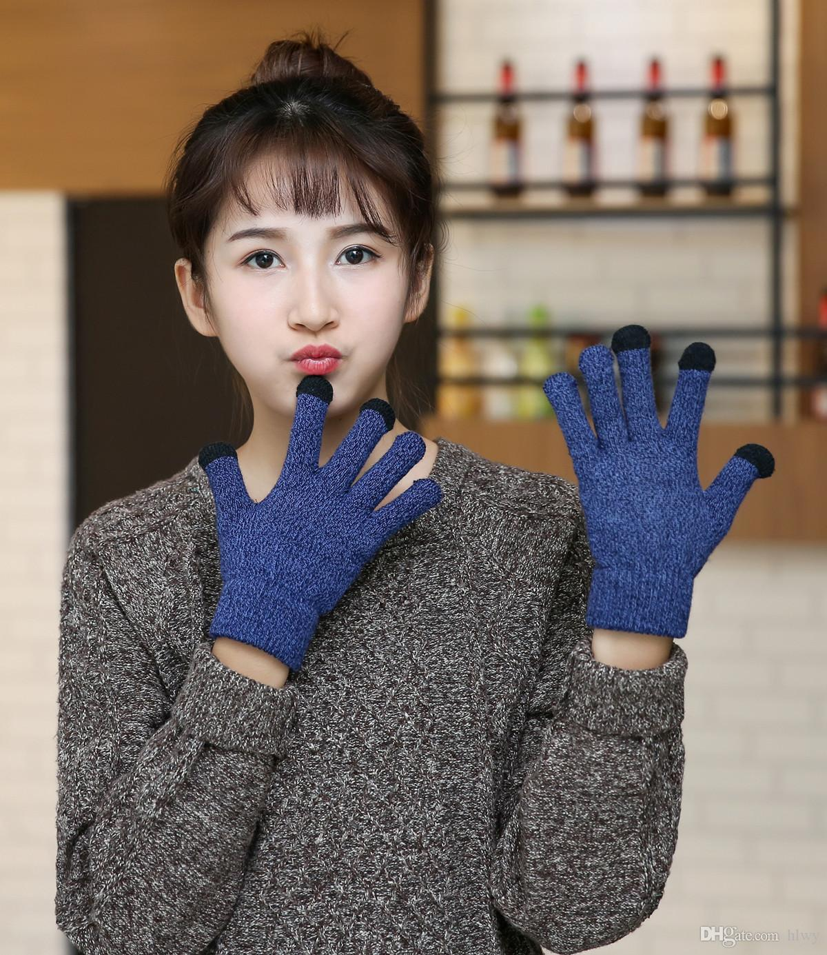 Wholesale-2017 erkekler ve kadınlar kalın bir pazen sıcak açık eldiven ile kadın kış dokunmatik ekran eldiven
