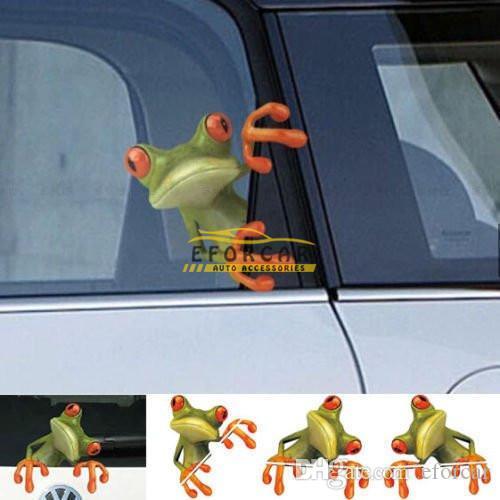 Mode 3D stéréo autocollant animal mignon drôle réaliste dessin animé voiture grenouille autocollants camion fenêtre vinyle autocollant autocollant