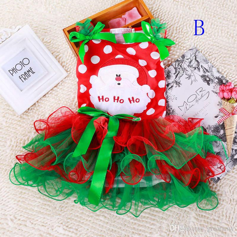 Girls christmas dress babies clothes kids holiday clothes children dresses for girl Santa Claus snowman printed child infant lace tutu skirt