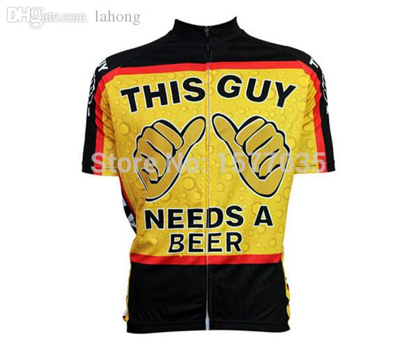 Wholesale Funny Cartoon Bike Clothes Classic Creative This Guy Needs A Beer Cycling  Jersey Short Sleeve Novelty Bike Shirt Special Wear Bib Shorts Sale Bike ... 3fa4dbaae