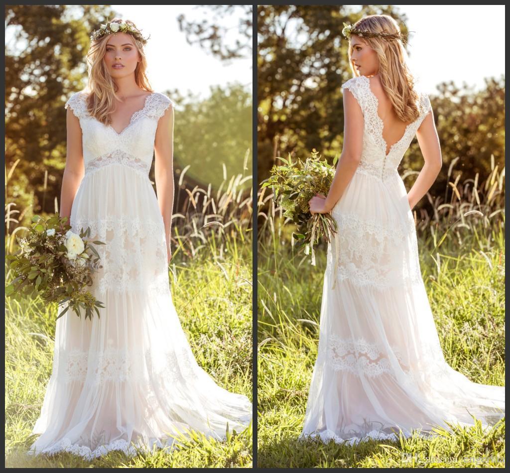 Discount 2016 hippie romantic garden wedding dresses v for Garden party wedding dress
