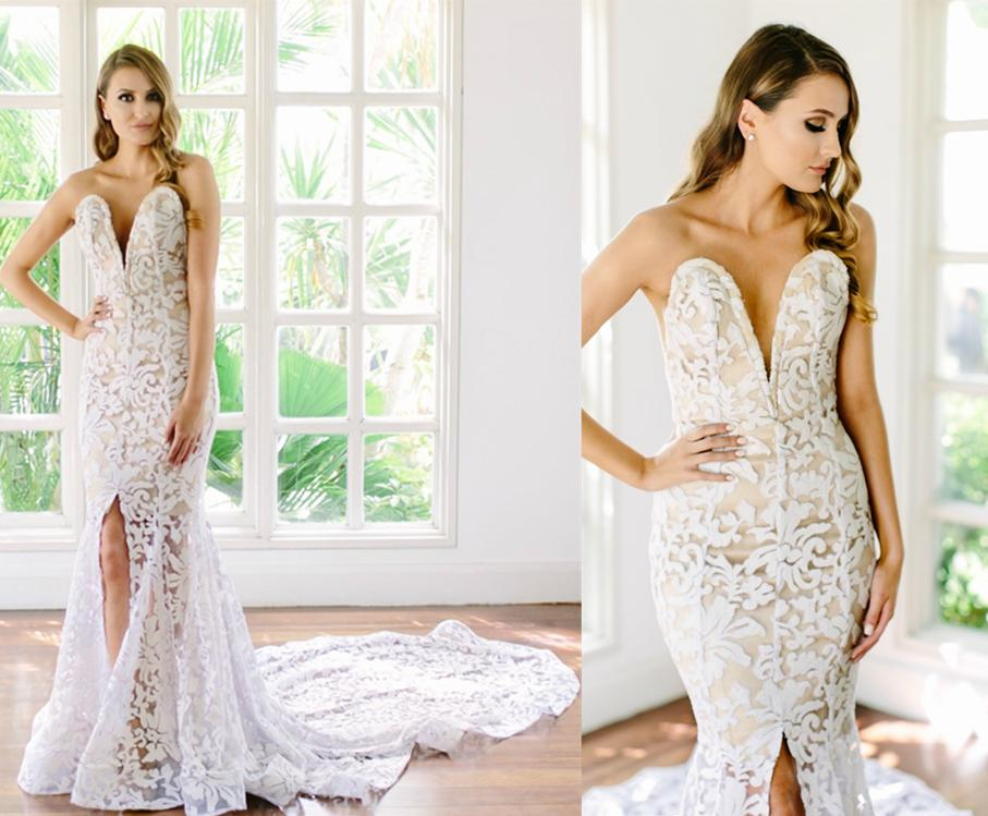 Pnina Tornai Wedding Dresses 2016 V Neck Lace Mermaid Wedding ...