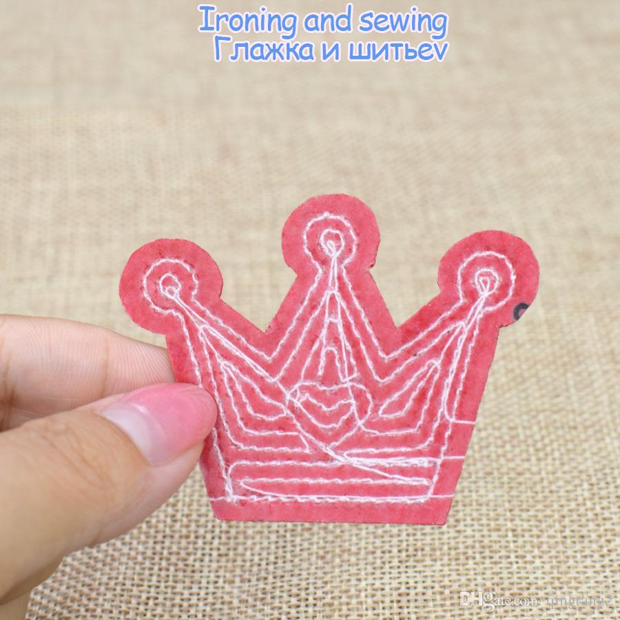 10 STÜCKE Pailletten Crown Stickerei Patches für Kleidung Taschen Eisen auf Transfer Applique Pailletten Patch für Jeans DIY Nähen auf Pailletten