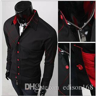 Neue Herren Casual Slim Fit Stilvolle Kleid Hemden F56 Farbe Schwarz Weiß Größe M-2XL