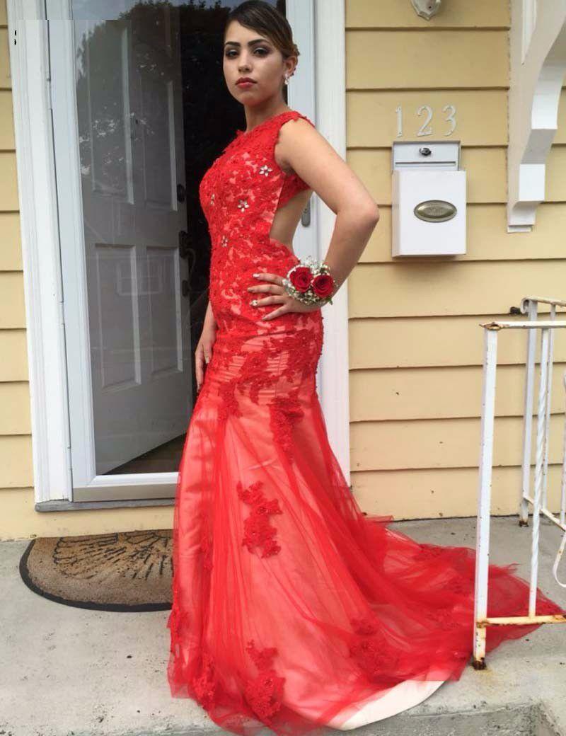 Red Mermaid Prom Dress Squances