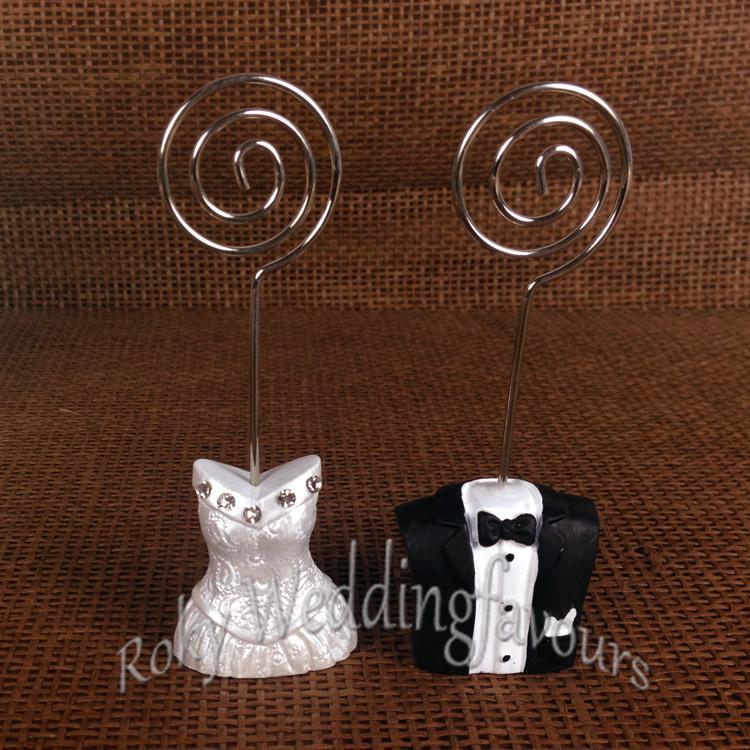 무료 배송 + / 신부와 신랑 장소 카드 소지자 결혼식 호의, 결혼 선물, 행복한 커플 장소 카드 홀더 호의, 클립 홀더