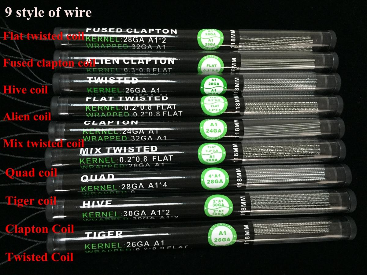 Flat twisted wire fused clapton coils hive wires alien mix twisted gauge different gauge from different wire quantity of wire 10pcstube resistance diy model name 9 kinds of heating wire advantage fast heating greentooth Gallery