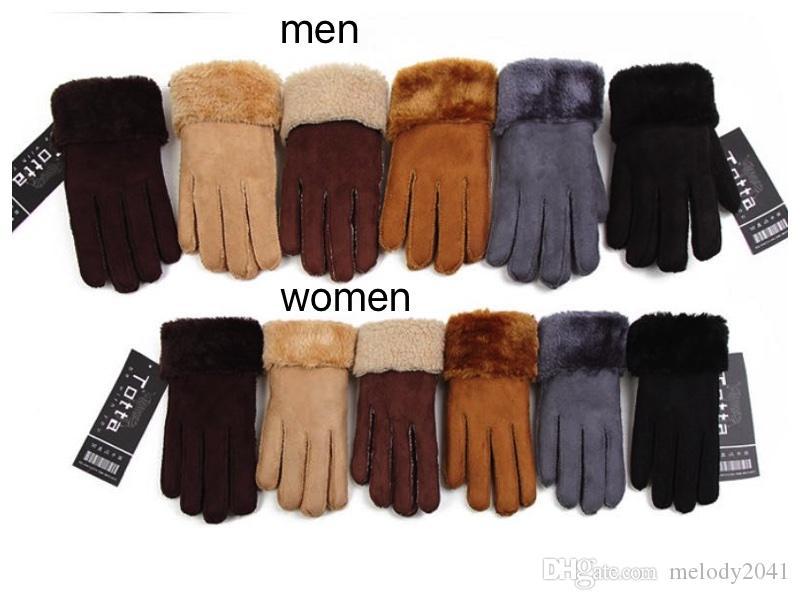 Invierno Micro Suede hombres y mujeres guantes de piel sintética con dedos de piel guantes de cuero artificial mantener cálidos colores de mezcla al por mayor