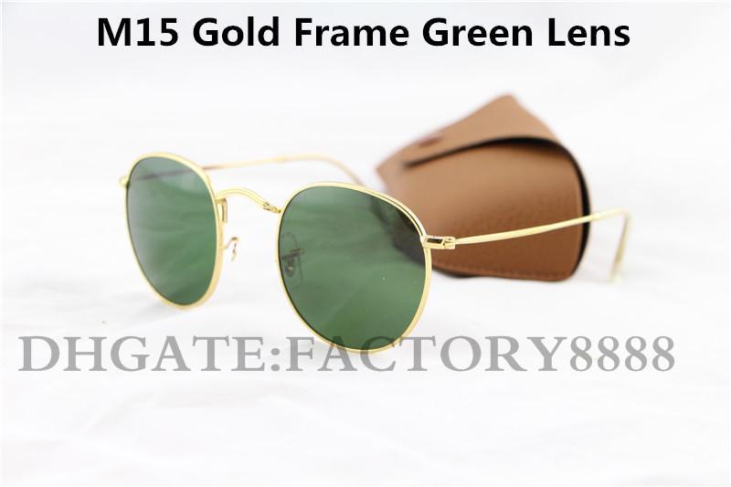 50mm de alta calidad de la manera Gafas de sol redondas para mujer para hombre Gafas de sol del metal del oro Negro oscuro lentes de cristal de Mejor Caso Brown