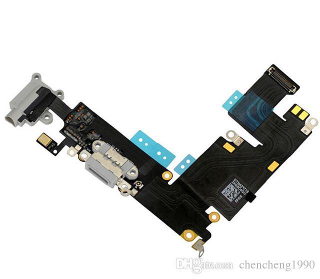 100% Marka YENI iPhone 6 6 S Artı Beyaz Gri Renk USB Dock Şarj Şarj Kulaklık Ses Portu Flex Kablo Yedek parça için iphone 6