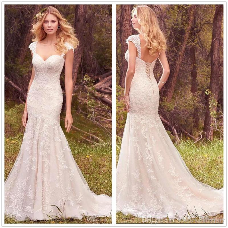 2018 Lace Mermaid Wedding Dresses Tulle Applique Removable Cap ...