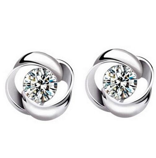 High Grade White Gold Plating Austrian Crystal Stud Earrings 925 Sterling silver Earrings for Wedding Party Free Shipping