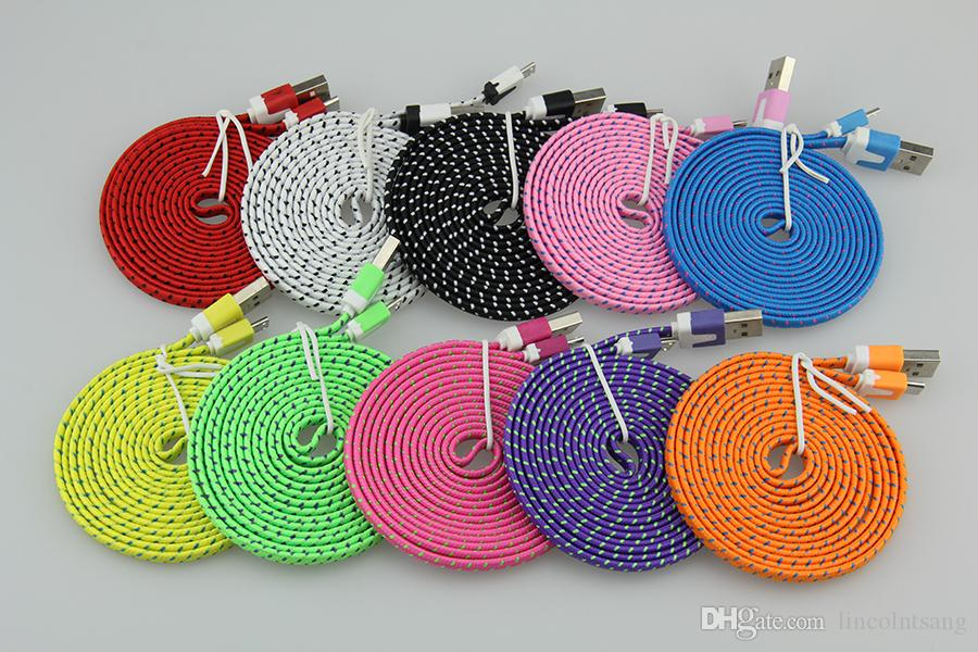 Wholesale 2M 6ft Flat Noodle Nylon Fabric V8 Micro USB Charge Adapter Cable for Samsung for SONY Xperia for XIAOMI for Huawei