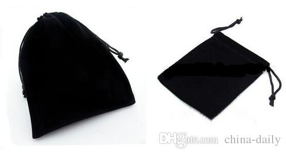FreeShip 100 stücke Verschiedene Größen 5 * 7 cm 7 * 9 cm 9 * 12 cm 10 * 15 cm 12 * 15 cm Schwarz Samtbeutel Schmuck Taschen Hochzeit Süßigkeiten Perlen Weihnachtsgeschenk Taschen