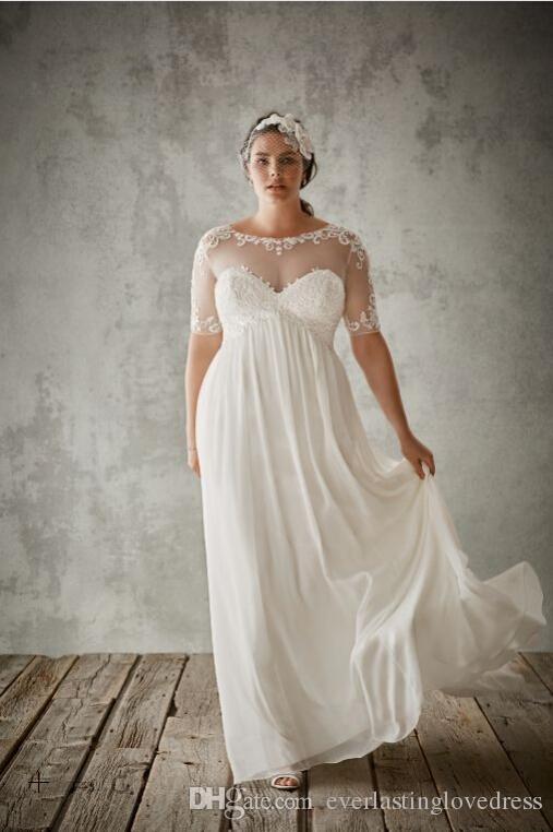 Chiffon Sheath with Illusion Appliques Half Sleeves Detail 9WG3749 Wedding  Dresses Plus Size Bridal Dress vestidos de festa