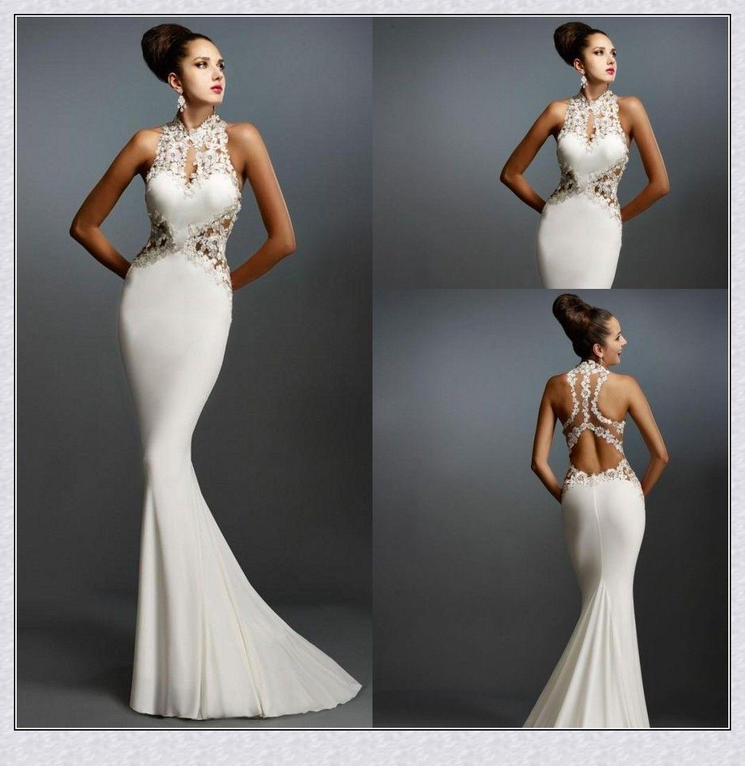 Graceful Mermaid White Evening Dresses O Neck Sleeveless Appliques ...