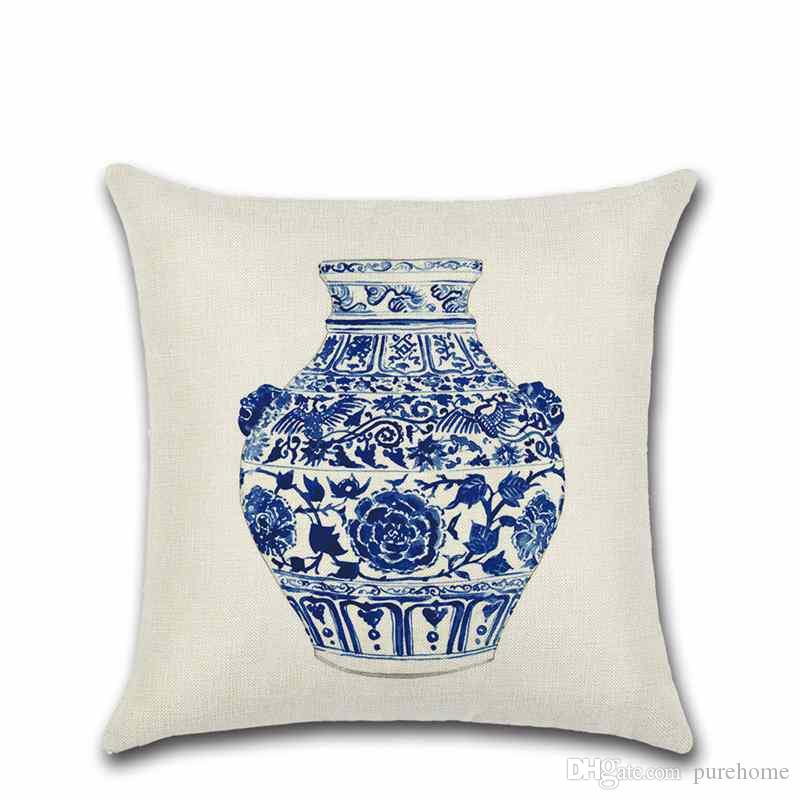 Chinese Style Blue Bottle Blue-and-white Vase Pillowcase Linen Pillow Case Sofa Cushion Cover 45*45CM Home Cafe Office Decor Gift for Friend