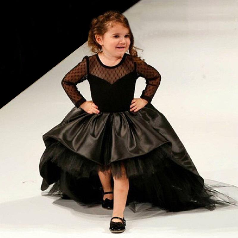 Hot Sale 2016 New Black Long Sleeve Flower Girl Dresses For A Wedding Puffy High Low Pageant Formal Dress Of Little Girls Vestiti Da Comunio