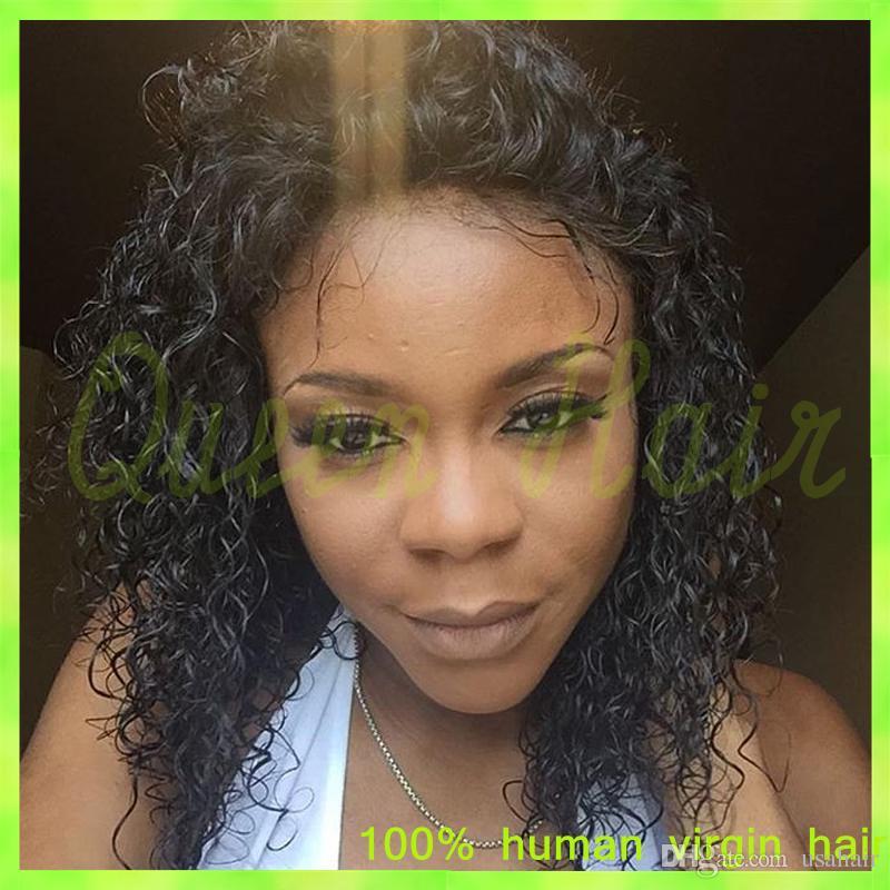Capelli brasiliani del grado 130 A 130 Densità Breve parrucca anteriore del merletto dei capelli umani Glueless piena del merletto parrucche dei capelli umani ricci le donne nere
